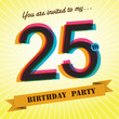 25th Birthday party invite/template design retro style - Vector
