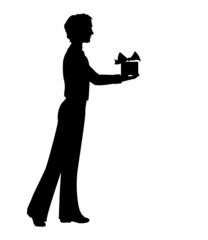 Silhouette of man holding a gift box