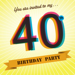 40th Birthday party invite/template design retro style - Vector
