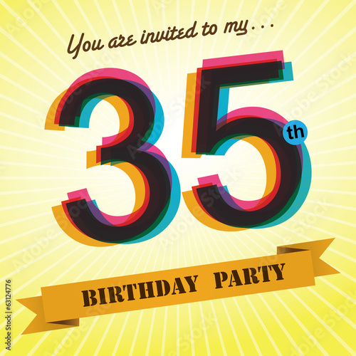 35th Birthday party invite/template design retro style - Vector