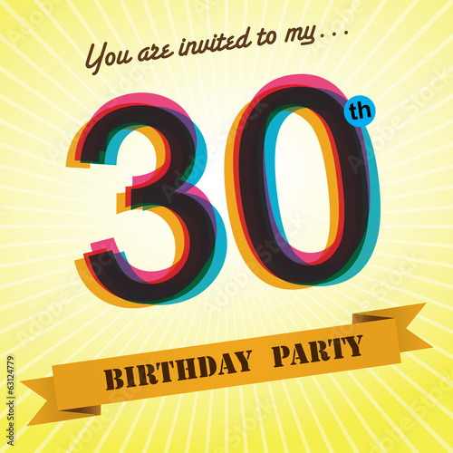 30th Birthday party invite/template design retro style - Vector