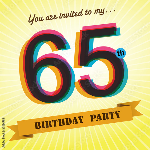 65th Birthday party invite/template design retro style - Vector
