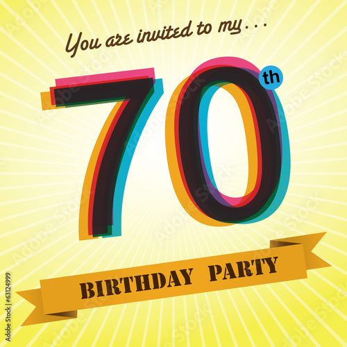 70th Birthday party invite/template design retro style - Vector