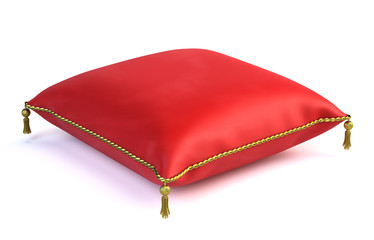 Royal red velvet pillow isolated on white