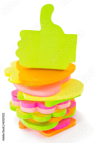 Stack of different shape and colors blocks of memo sticks, isola