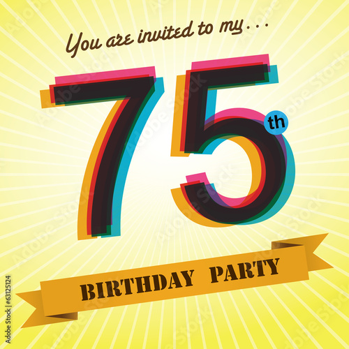 75th Birthday party invite/template design retro style - Vector