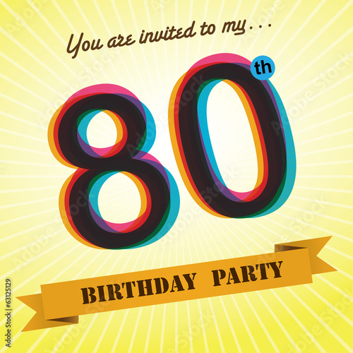 80th Birthday party invite/template design retro style - Vecto