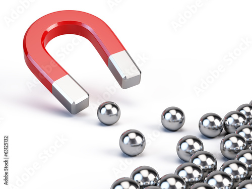 Business concept - Magnet attract spheres