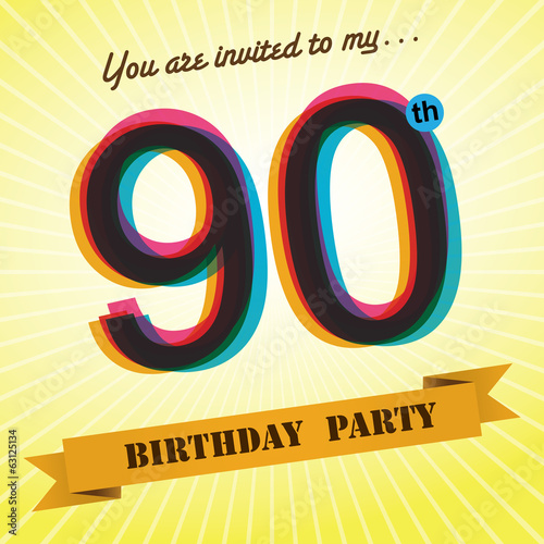 90th Birthday party invite/template design retro style - Vector