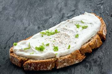 Healthy low fat cream cheese and chives on bread