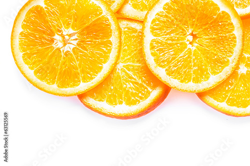 Juicy fresh colorful orange slices