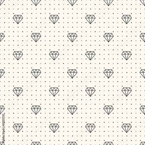 Vector seamless retro pattern, with diamonds.