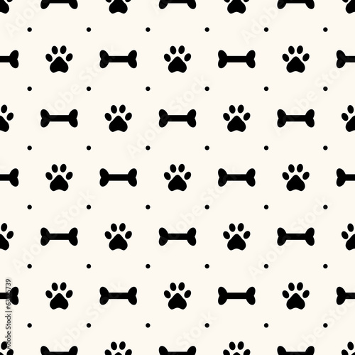 Seamless animal pattern of paw footprint and bone