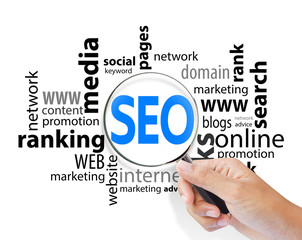 Magnifying Glass with SEO search, internet concept