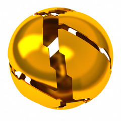 Abstract 3d object - golden shattered sphere