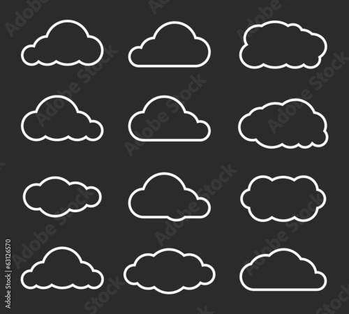 Flat design cloudscapes collection