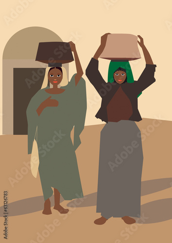 Women return from the market