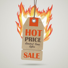 Vintage Hot Price Sticker Fire