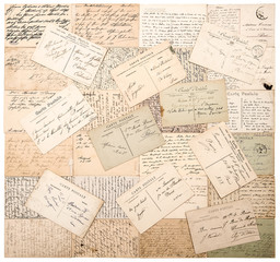 vintage postcards. handwritten undefined texts