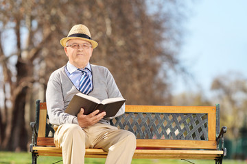 Elderly gentleman with book posing on a bench