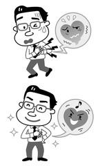 心臓病 発作 快癒 会社員 モノクロ