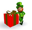 Leprechaun for patrick's day with gift box