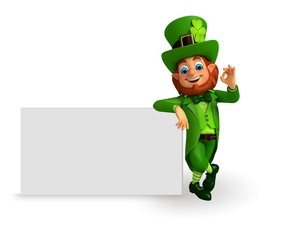 Leprechaun for patrick's day with big sign