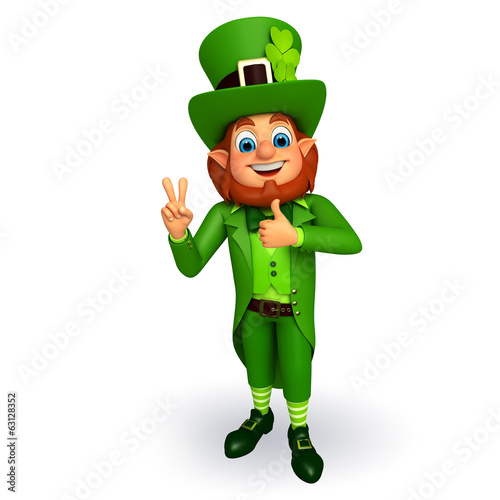 Leprechaun for patrick's day with victory sign