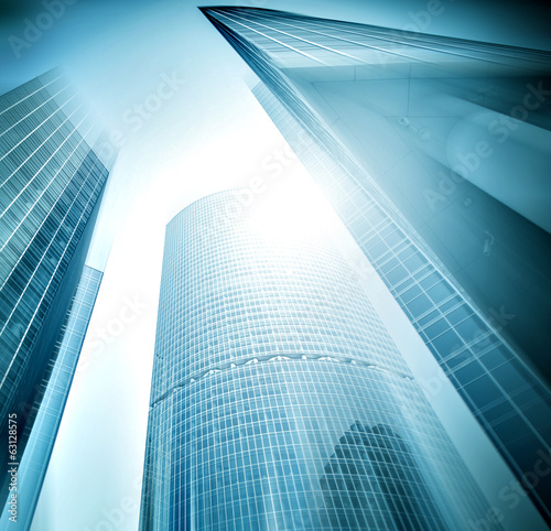 Modern glass silhouettes of building skyscrapers