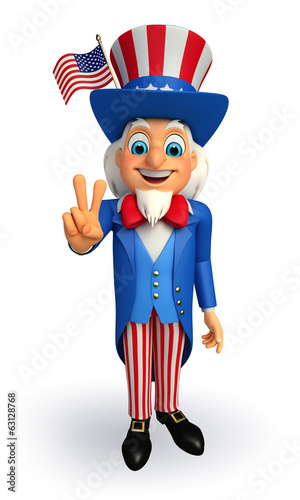 Illustration of Uncle Sam with victory sign