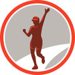 Female Marathon Runner Running Circle Retro