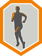 Marathon Runner Running Front Shield Retro