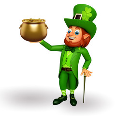 Leprechaun for patrick's day with golden pot