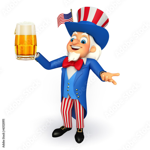 Illustration of Uncle Sam with beer glass