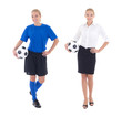 young woman in blue soccer uniform and business clothes with bal
