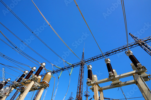 Electric substation in a bright sunny day
