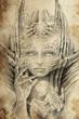 woman alien, Tattoo sketch, handmade design over vintage paper
