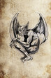 gargoyle Tattoo sketch, handmade design over vintage paper