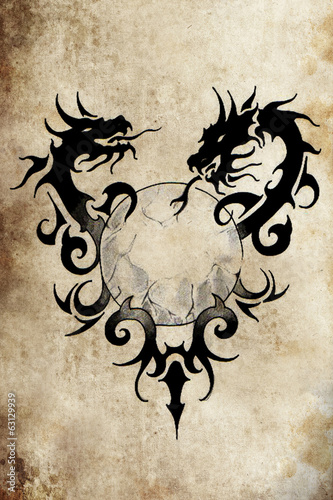 Dragon tribal with sphere, Tattoo sketch, handmade design over v