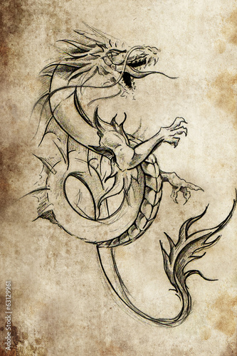 Dragon lizzard, Tattoo sketch, handmade design over vintage pape