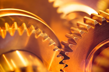 golden gear wheels, close-up