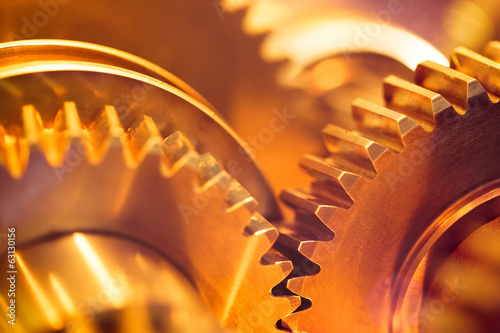 canvas print picture golden gear wheels, close-up