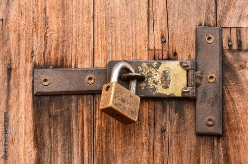 Old wooden door with key lock