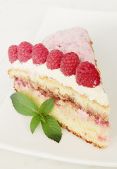 serving cake with raspberry