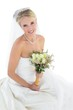 Bride holding bouquet over white background