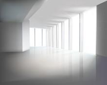 Szklane ściany w biurze. Ilustracji wektorowych.