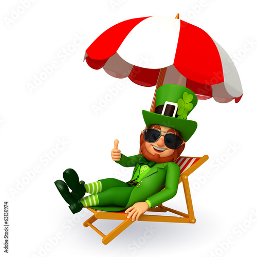 Leprechaun for patrick's day with beach chair