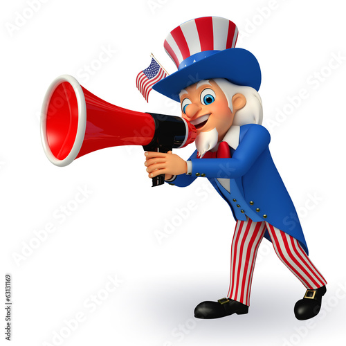 Illustration of Uncle Sam with loudspeaker