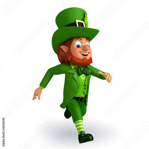 leprechaun for patrick's day is running