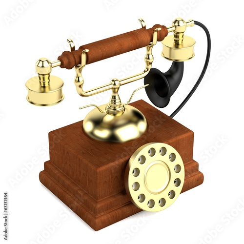 realistic 3d render of old telephone